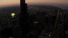 Aerial sunset view of Sears Tower from high elevation Chicago, USA - stock footage