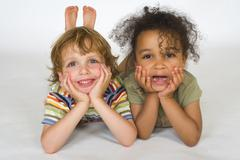 Young boy and girl children laughing Stock Photos
