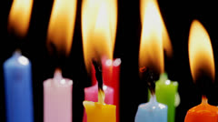 Colorful birthday candles - stock footage