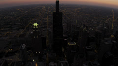 Aerial illuminated sunset view Willis Tower at night, Chicago, USA - stock footage
