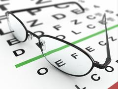 eyeglasses and eye chart - stock illustration