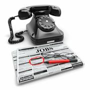 Stock Illustration of search job. newspaper with advertisments, glasses and phone