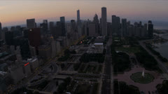 Aerial view Grant and Millennium Park downtown Chicago, USA Stock Footage