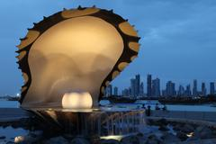 pearl and oyster fountain in doha / qatar - stock photo