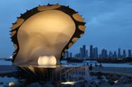 Stock Photo of pearl and oyster fountain in doha / qatar