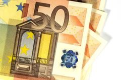 50 euro banknote showing hologram, closeup, white background - stock photo