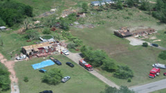 Tornado Damage Destruction path through housing subdivision. - stock footage