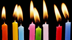 Colorful birthday candles Stock Footage