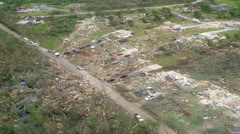 Tornado Damage Destruction path through small residential community. - stock footage