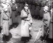 World War 1 - Hindenburg Visits Soldiers Stock Footage
