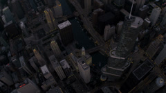 Aerial vertical view Chicago River, Trump Tower skyscraper, USA Stock Footage