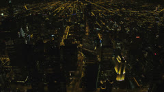 Aerial illuminated night view downtown skyscrapers Chicago, USA Stock Footage