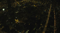 Aerial illuminated night view Chicago city skyscrapers, USA Stock Footage