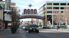 Reno Nevada Biggest Little City traffic HD 5274 Stock Footage