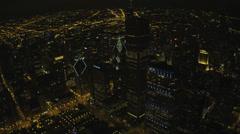 Aerial illuminated night view Millennium Park, Chicago, USA Stock Footage
