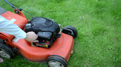 refill fill grass lawn mower cutter fuel tank - stock footage