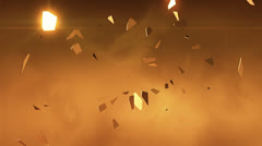 Flying fragments of gold. - stock footage