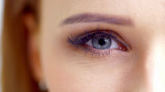 Zoom Shoot of an Eye of Beautiful Girl in Slow Motion Stock Footage