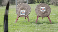 Couple of archery target - stock footage