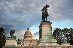 us grant statue memorial capitol hill washington dc - stock photo