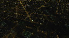 Aerial cityscape illuminated view Chicago avenues of light, USA Stock Footage