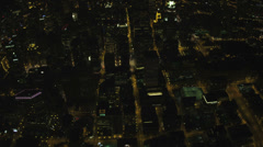 Aerial illuminated overhead night view Chicago River, Chicago, USA Stock Footage
