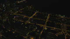 Aerial illuminated night view of Millennium Park, Chicago, USA Stock Footage