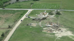 Tornado Damage Destruction path through rural community. Stock Footage