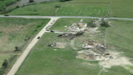 Stock Video Footage of Tornado Damage Destruction path through rural community.