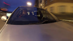Car Driving Through City at Night, Time Lapse - Gopro POV Shot HD - stock footage