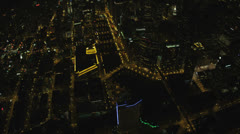 Aerial illuminated overhead view Chicago River, Chicago, USA Stock Footage