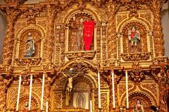 golden altar serra chapel mission san juan capistrano church california - stock photo