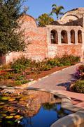 Fountain pool bells mission san juan capistrano ruins california Stock Photos