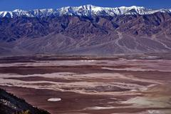 Badwater from dante view with panamint mountains death valley na Stock Photos