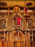 Spanish ornate altar serra chapel mission san juan capistrano california Stock Photos
