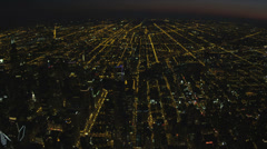 Aerial illuminated night view of Chicago city skyscrapers, USA Stock Footage