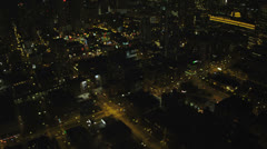 Aerial view of illuminated American city at night,  USA Stock Footage