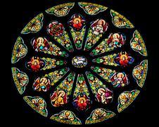 Rose stained glass window saint peter paul catholic church san francisco Stock Photos