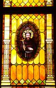 friar junipero serra stained glass immaculate conception church - stock photo