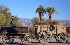 christmas borax wagons death valley national park california - stock photo