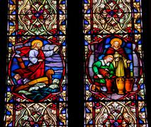 Stock Photo of jesus on boat wine stained glass national shrine of saint francisco
