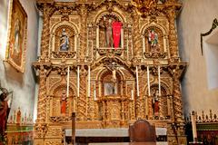 spanish ornate altar serra chapel mission san juan capistrano california - stock photo