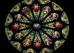 rose stained glass window saint peter paul catholic church san francisco - stock photo