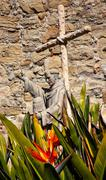 Father serra statue mission san juan capistrano church ruins california Stock Photos