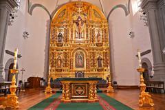 golden altar mission basilica san juan capistrano church california - stock photo