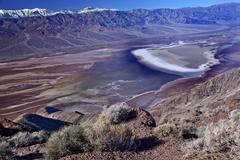 badwater from dante view with panamint mountains death valley na - stock photo