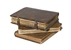 history - three old frayed books isolated - stock photo