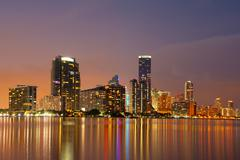 Miami skyline at dusk Stock Photos