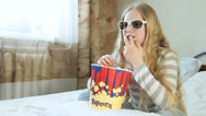 Stock Video Footage of Child Watching 3D Movie at Home