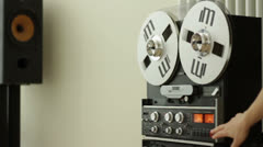 Vintage classic tape reel audio recorder, slow motion HD Stock Footage